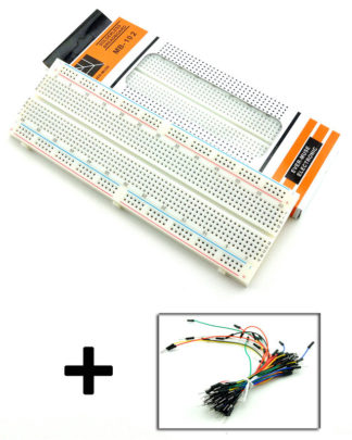 830 Tie Points Solderless PCB Breadboard MB102 65Pcs Jumper Cable Wires