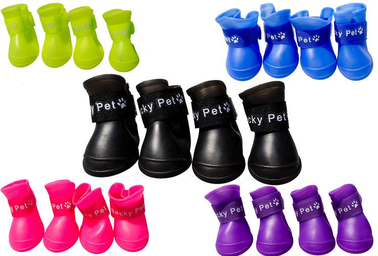 PVC 4Pcs//set Non-slip Pet Cute Waterproof Shoes Rainboot Puppy Rubber Rain Boots