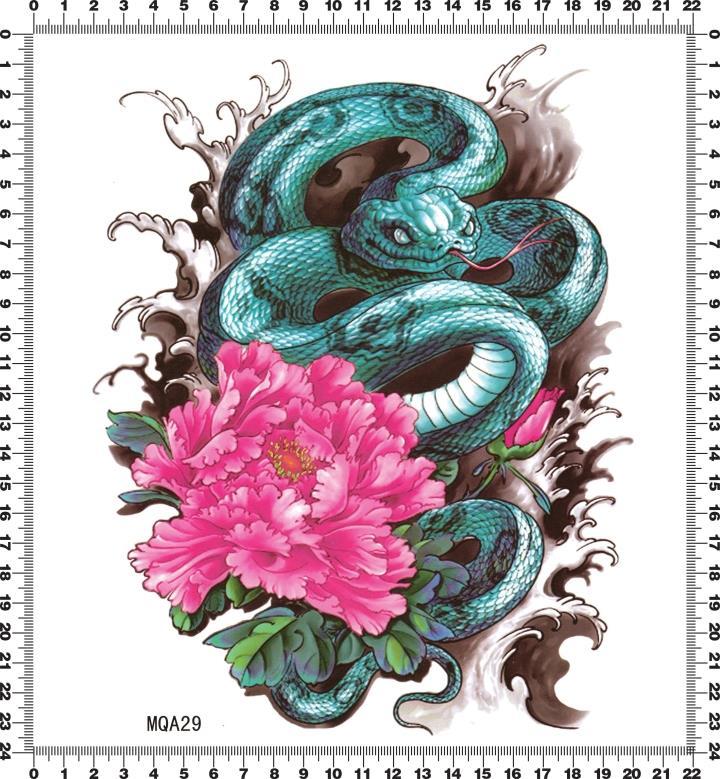 Flower And Snake Big Pattern Waterproof Temporary Tattoo Body Art Stickers Joy Gifts Store