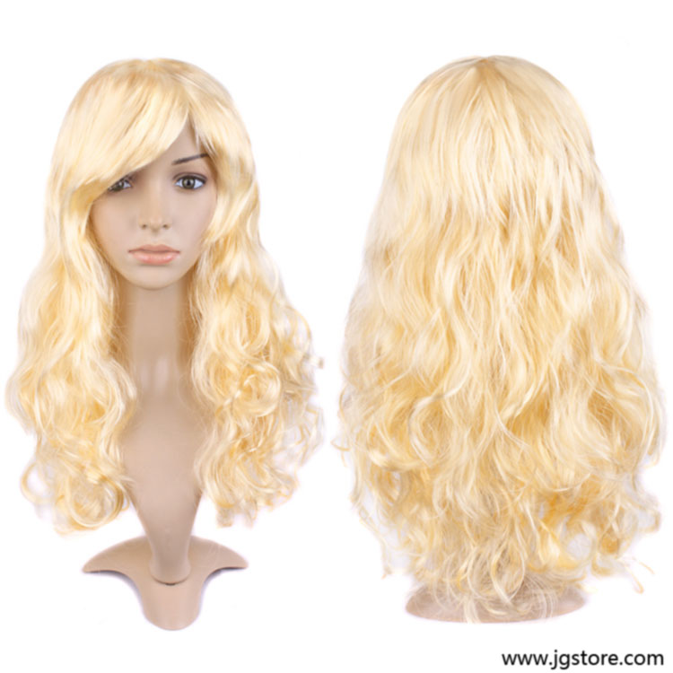 Golden Sexy Women Long Curly Hair Wig ...