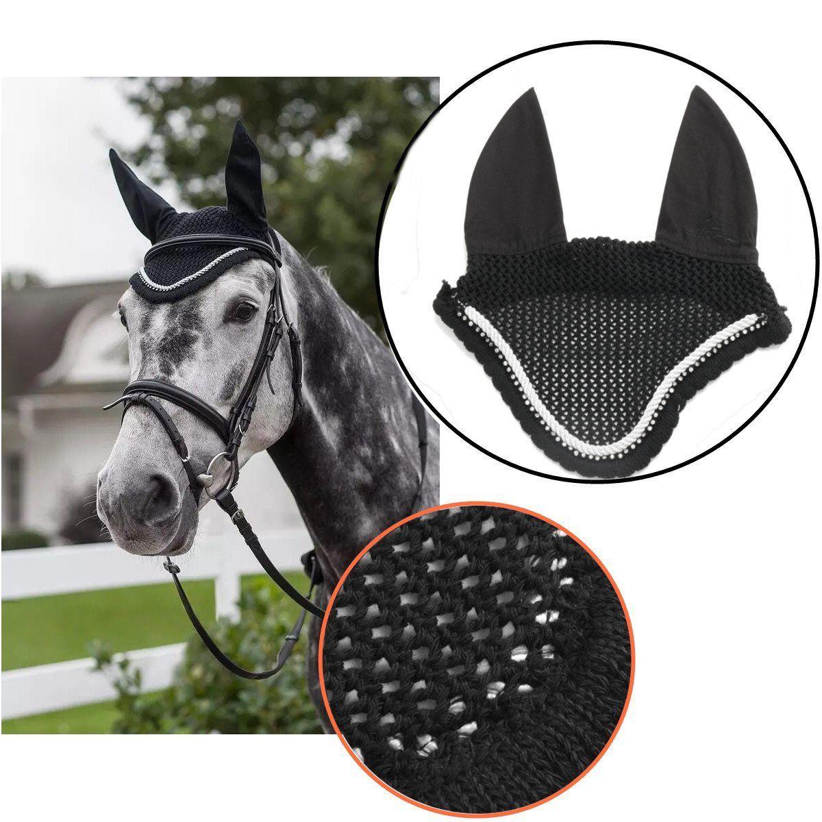Horse Breathable Cotton Ear Bonnet//Mask//Net//Crochet Flyveil cotton Blue Colour