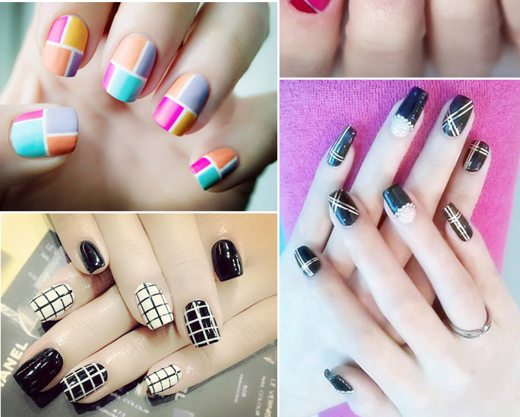 10 Color Rolls Striping Tape Line Nail Sticker Nail DIY Kit