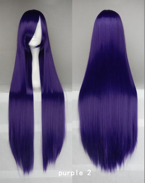 100cm Long Straight Anime Party Cosplay Full Wig + Wig Cap - black-purple-2