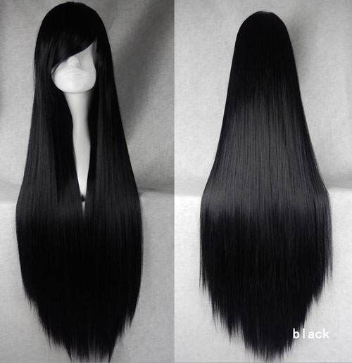 100cm Long Straight Anime Party Cosplay Full Wig + Wig Cap - black