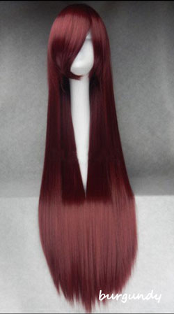 100cm Long Straight Anime Party Cosplay Full Wig + Wig Cap - burgundy