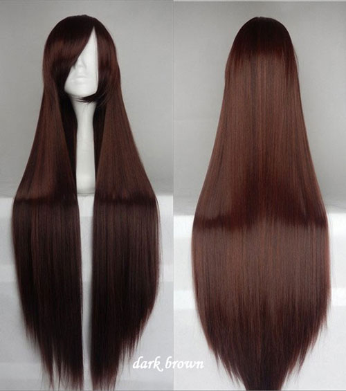 100cm Long Straight Anime Party Cosplay Full Wig + Wig Cap - dark-brown