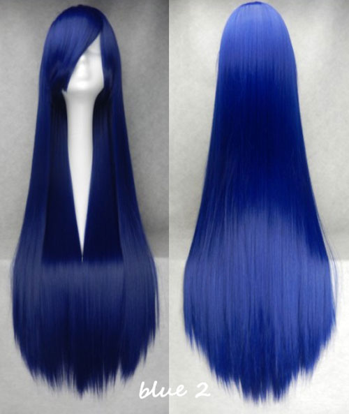 100cm Long Straight Anime Party Cosplay Full Wig + Wig Cap - blue-2