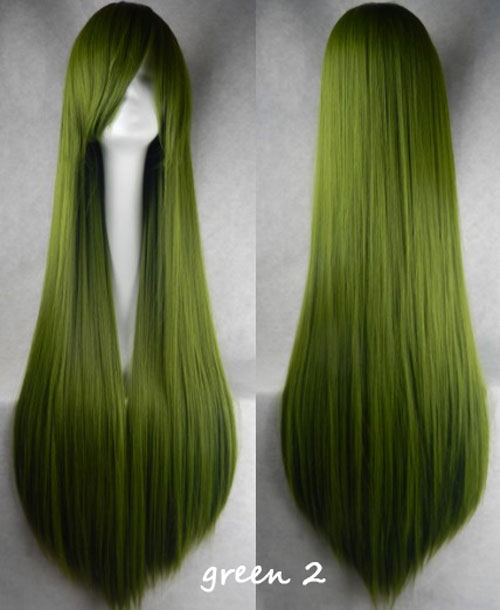100cm Long Straight Anime Party Cosplay Full Wig + Wig Cap - green-2