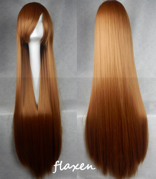 100cm Long Straight Anime Party Cosplay Full Wig + Wig Cap - flaxen
