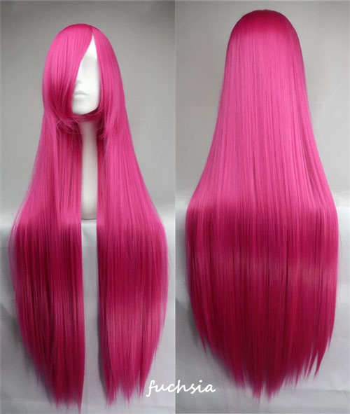 100cm Long Straight Anime Party Cosplay Full Wig + Wig Cap - fuchsia