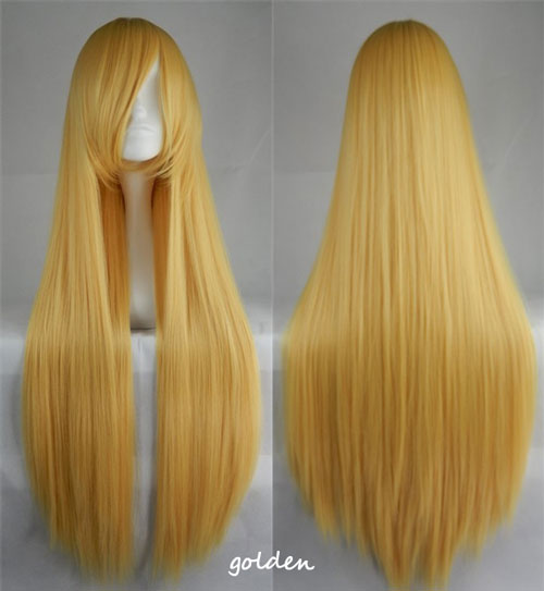100cm Long Straight Anime Party Cosplay Full Wig + Wig Cap - golden