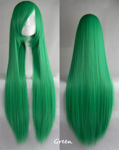100cm Long Straight Anime Party Cosplay Full Wig + Wig Cap - green