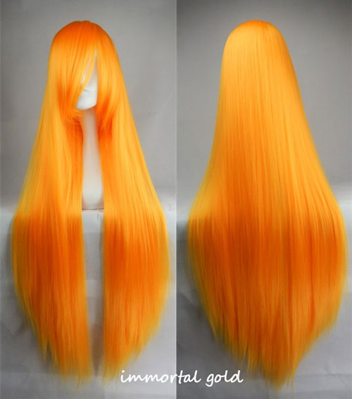 100cm Long Straight Anime Party Cosplay Full Wig + Wig Cap - immortal-gold