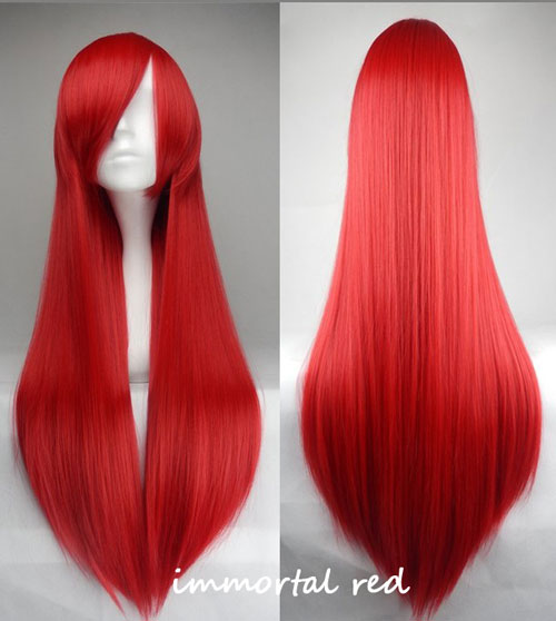 100cm Long Straight Anime Party Cosplay Full Wig + Wig Cap - immortal red