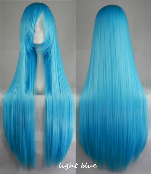 100cm Long Straight Anime Party Cosplay Full Wig + Wig Cap - light-blue