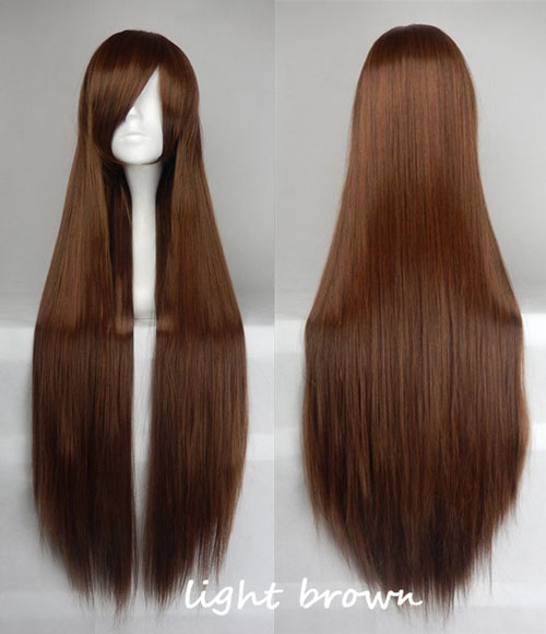 100cm Long Straight Anime Party Cosplay Full Wig + Wig Cap - light-brown