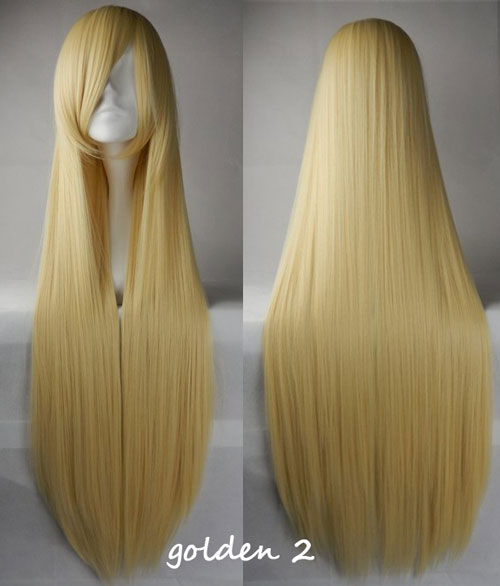 100cm Long Straight Anime Party Cosplay Full Wig + Wig Cap - light-golden-2