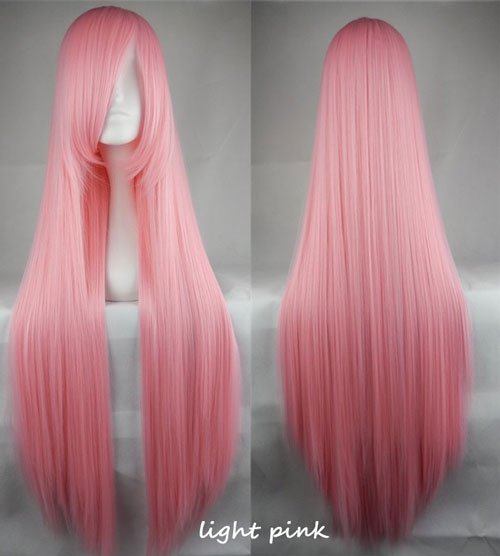 100cm Long Straight Anime Party Cosplay Full Wig + Wig Cap - light-pink