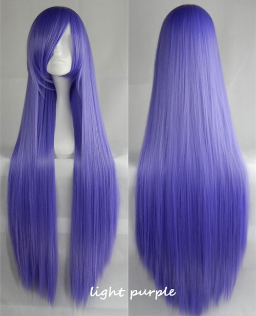 100cm Long Straight Anime Party Cosplay Full Wig + Wig Cap - light-purple