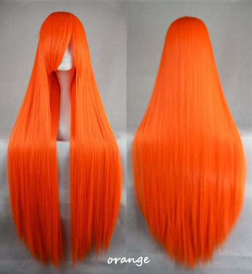 100cm Long Straight Anime Party Cosplay Full Wig + Wig Cap - orange
