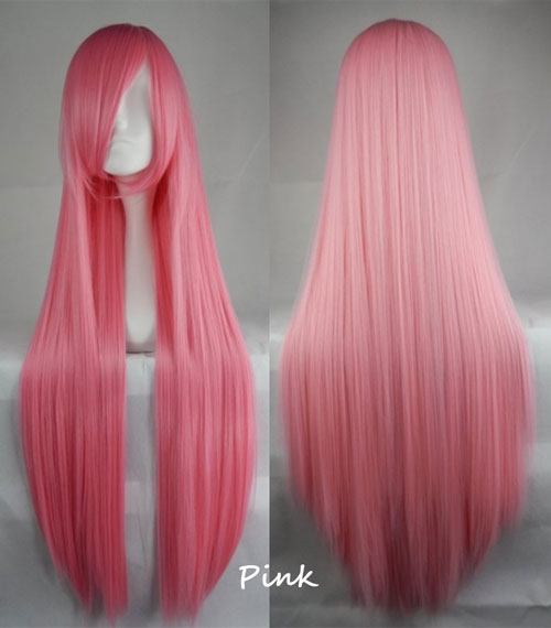 100cm Long Straight Anime Party Cosplay Full Wig + Wig Cap - pink