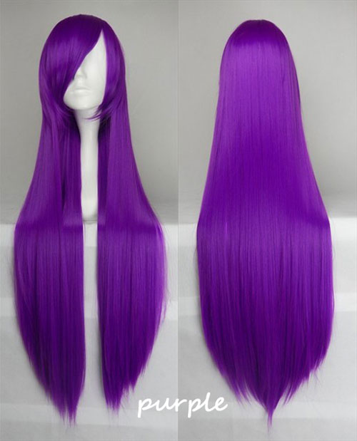 100cm Long Straight Anime Party Cosplay Full Wig + Wig Cap - purple