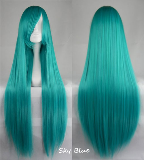 100cm Long Straight Anime Party Cosplay Full Wig + Wig Cap - sky-blue