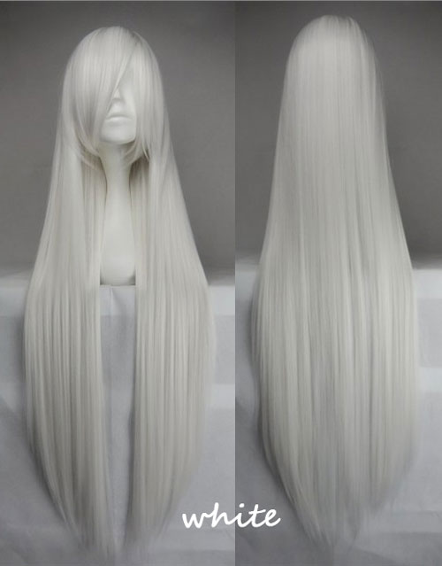 100cm Long Straight Anime Party Cosplay Full Wig + Wig Cap - white