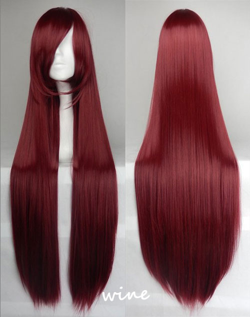 100cm Long Straight Anime Party Cosplay Full Wig + Wig Cap - wine