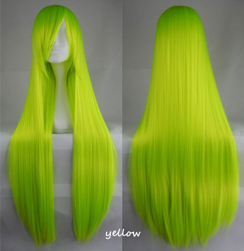 100cm Long Straight Anime Party Cosplay Full Wig + Wig Cap - yellow