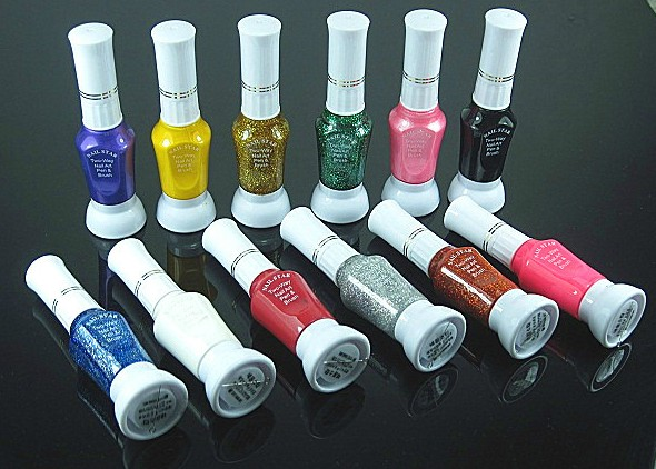 12 COLOURS 2 WAY BEAUTY NAIL ART PEN & POLISH BRUSH