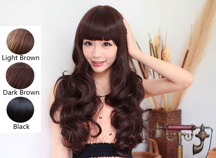 Straight Bangs Hairstyles Women??s Girl Long Curly Full Wigs