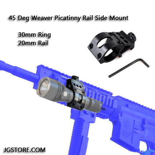 45 Deg Carbines Rifles Offset Flashlight Laser Weaver Picatinny Rail Side Mount