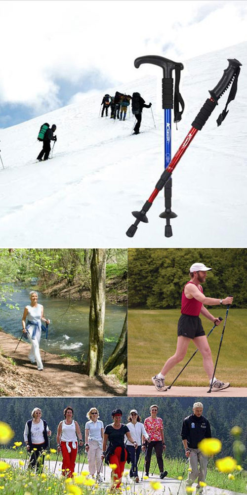 Straight Handle Adjustable Alpenstock AntiShock Trekking Hiking Walking Stick Pole