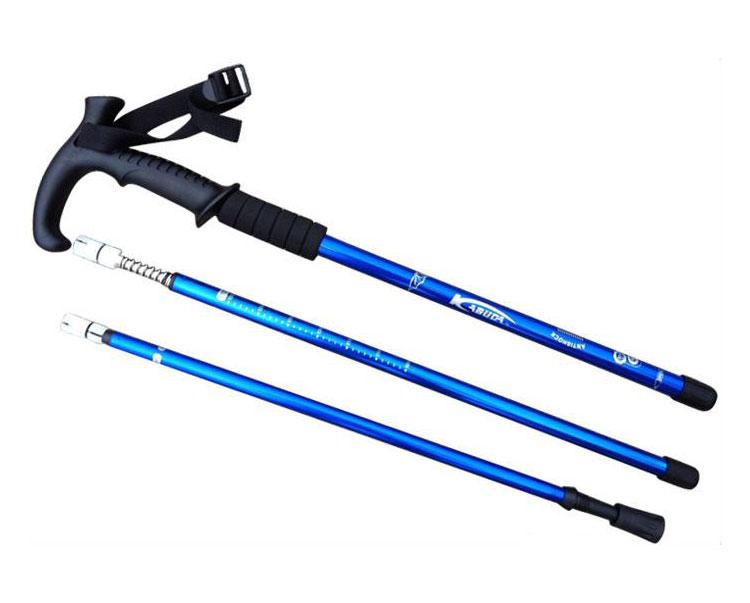 T Handle Adjustable Alpenstock AntiShock Trekking Hiking Walking Stick Pole 66-135cm