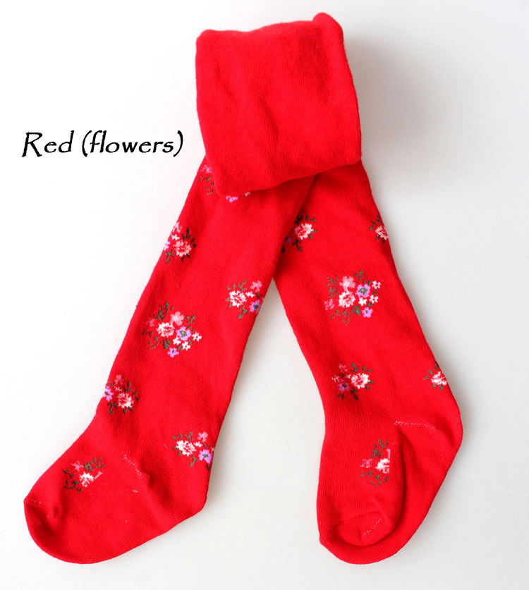 Baby Kids Boy Girl Toddler Tights Pantyhose Pants - Red (flowers)