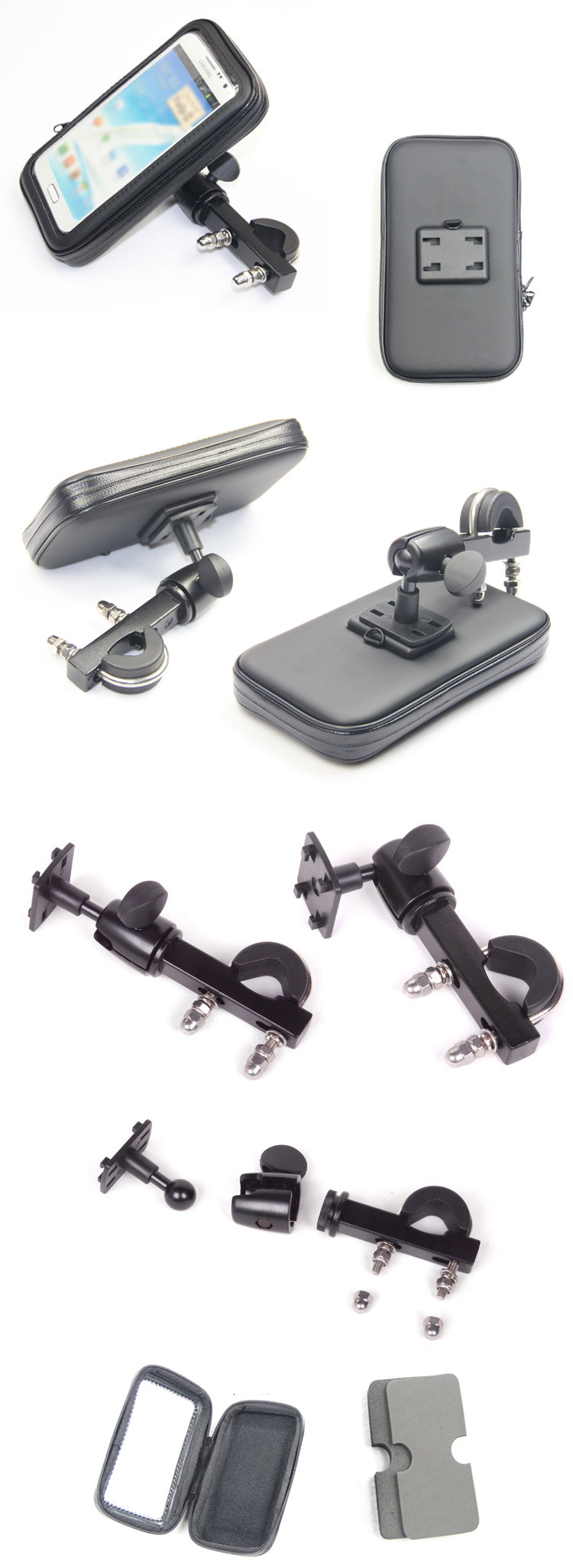 Aluminum Alloy Bracket Bike Bicycle Waterproof Phone Case Cover Bag Pouch Handlebar Mount Holder Cradle