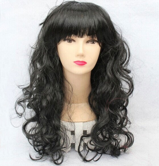 BLACK WOMENS LONG WAVY CURLY COSPLAY FULL WIGS