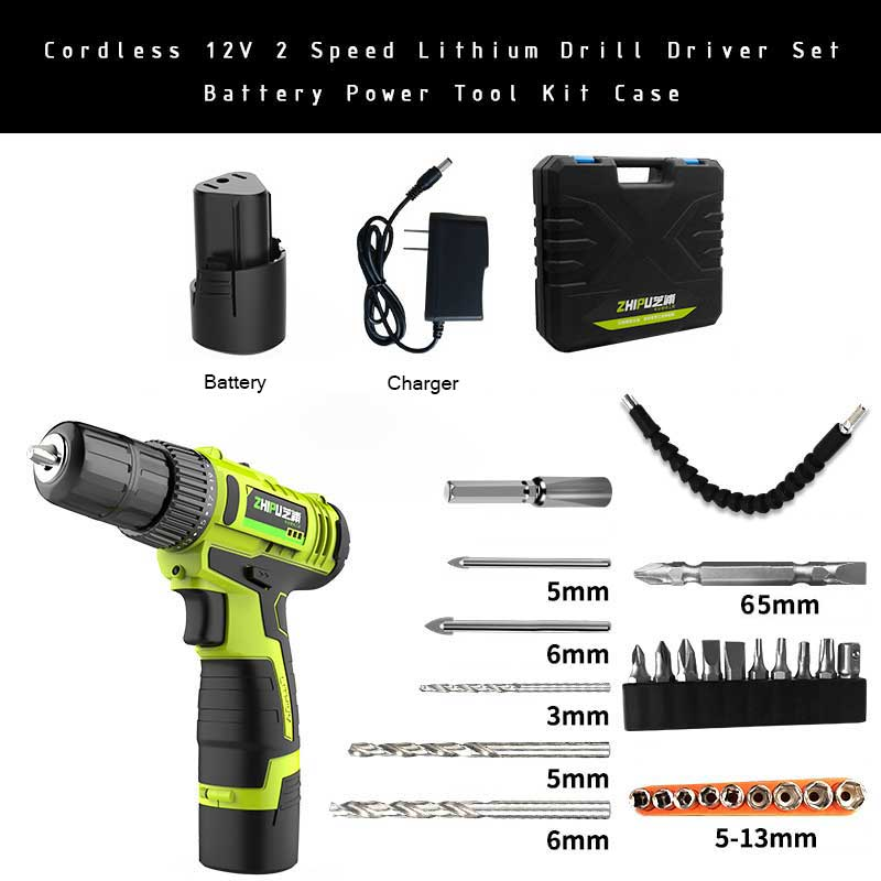 Cordless 12V 2 Speed Lithium Drill Driver Set Battery Power Tool Kit Case