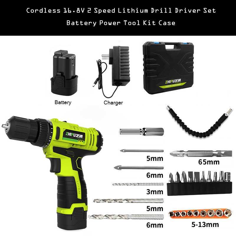 Cordless 16.8V 2 Speed Lithium Drill Driver Set Battery Power Tool Kit Case