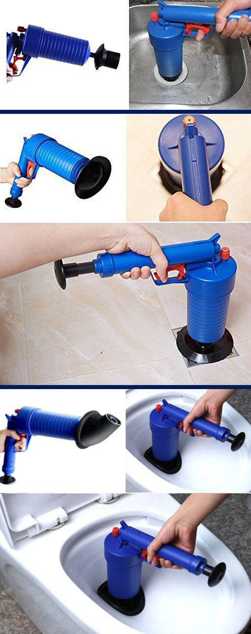 High pressure air gun plunger dredge for kitchen toilet sewer drain cleaning tool
