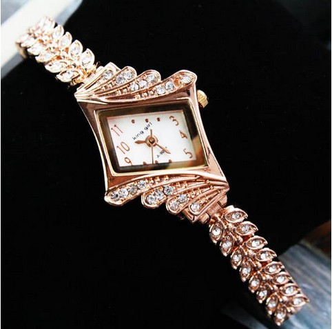 Luxury Rhombus Chain Diamond Gold Bracelet Women's Quartz Wrist Watch