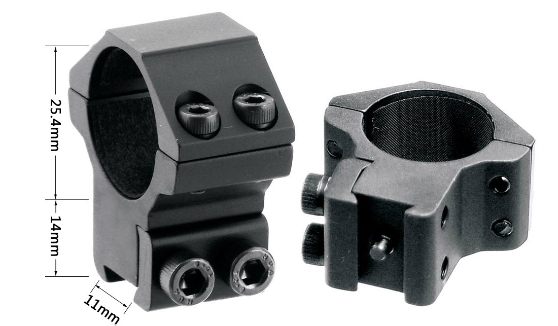 Medium Profile 1''(25.4mm) Scope Rings Fit For 11mm Dovetail Rail Mount