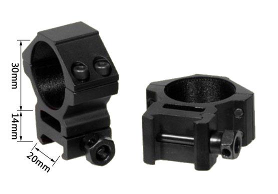 Medium Profile 30mm Scope Rings Fit 20mm Picatinny / Weaver Rail Mount
