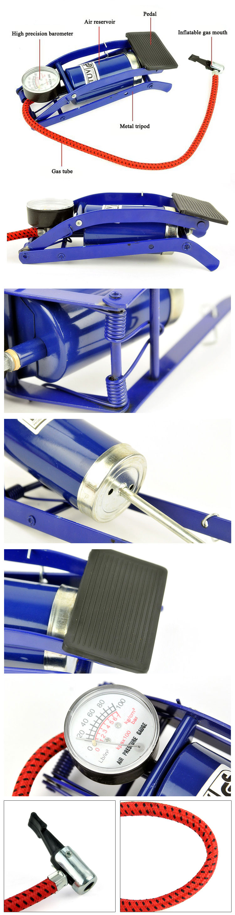 Bicycle Bike Foot Operated Tire Pump Inflator