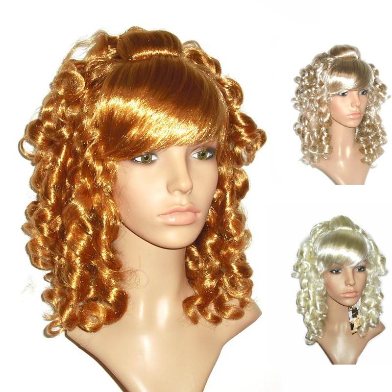 Oblique Bangs Golden Tight Curls Full Wig - Golden