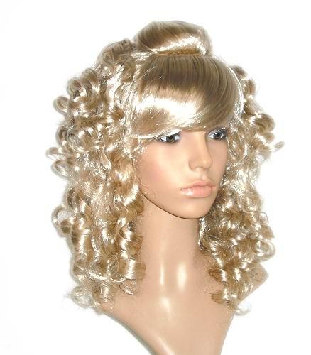 Oblique Bangs Golden Tight Curls Full Wig - Light Blonde