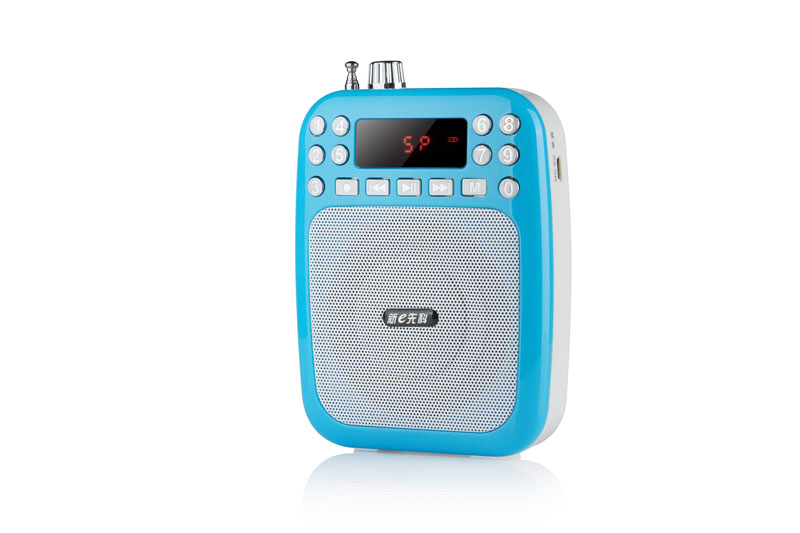 Portable Waist-Band Digital Display Audio Speaker FM Receiver Radio MP3 Sound Box - Blue