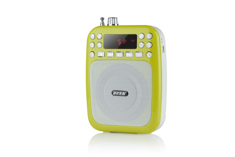 Portable Waist-Band Digital Display Audio Speaker FM Receiver Radio MP3 Sound Box - Green