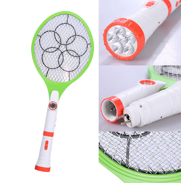 Rechargeable LED Flashlight Bug Fly Mosquito Zapper Swatter 2 in 1